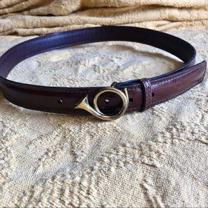 Vintage French Horn Brown Leather Belt